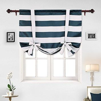 Navy Blue Striped Rod Pocket Nautical Tie Up Curtains
