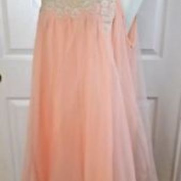 Vintage Chiffon Nightgown Womens Babydoll Lingerie 60s 50s Peach Pink White Lace