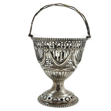 Sterling Silver Basket - Reticulated Cut Out, 1800s English Silver, Antique