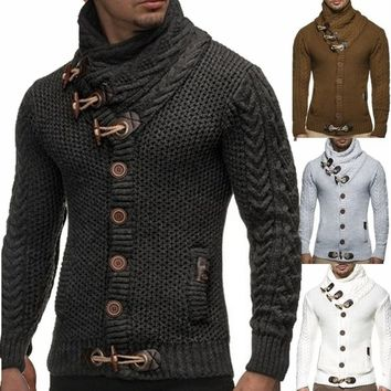 Men Fashion Thick Coat Knitted Cable Turtleneck Sweater Cardigan Lapel Tide