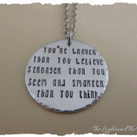 Hand Stamped Jewelry Necklace - Braver Stronger Smarter full quote V2 inspired by Winnie the Pooh - Great gift idea for him gift for her