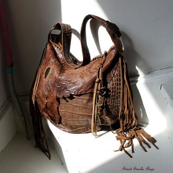 Fringe croc leather bag unique design purse bohemian tribal jungle african bag shaman sweet smoke bags bohemian boho fashion southwest