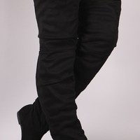 Slouchy Vegan Suede Over-The-Knee Flat Boots
