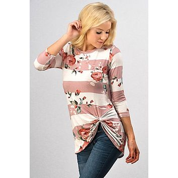 Floral and Stripes Twist Top - Pink