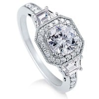 Sterling Silver Ring Round Cubic Zirconia CZ Ring 2.1 ct.tw - Nickel Free Engagement Wedding Ring S