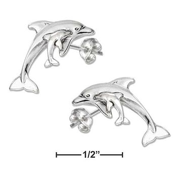Sterling Silver Earrings:  Mom With Baby Dolphin Earrings On Stainless Steel Posts-nuts