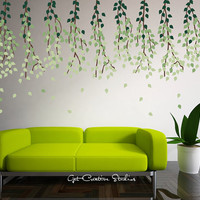 Branche Tree Decal Home Decor Leaf Hanging Ceiling Green Olive Wind Floating Spring Summer Wall Stickers - 450 LEAVES!