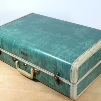 Samsonite 1950s Marbled Turquoise Suitcase Style 5121 Shwayder Bros Inc + Key . Wonderful Mid Century Vintage Luggage