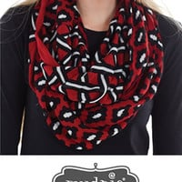 Game Day Mixed Print Infinity Scarf - Burgundy/Black