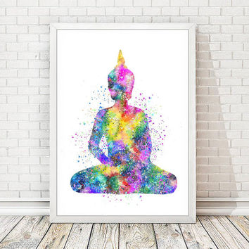 Buddha Print Watercolor Yoga Poster Abstract Buddha Statue Watercolour Art Illustration Nursery Print Wall Decor Meditation Wedding Gift A63