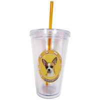 Chihuahua Profile Circle Plastic Pint Cup With Straw