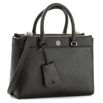 Tory Burch Small Robinson Leather Tote - S | Overstock.com Shopping - The Best Deals on Tote Bags