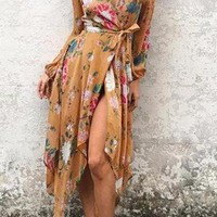 Brown Floral Print Lantern Sleeve Self Tie Wrap Asymmetrical Dress