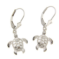 12MM 14K WHITE GOLD SPARKLY DIAMOND CUT HAWAIIAN SEA TURTLE EARRINGS LEVERBACK