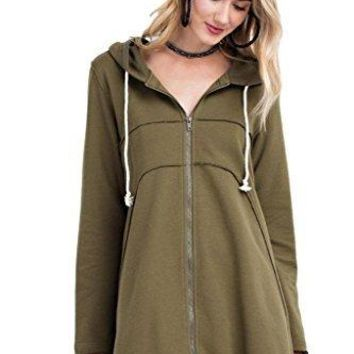 Easel Women's French Terry Zip Up Hoodie Casual Swing Jacket