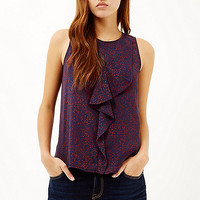Red printed ruffle front top - tops - sale - women