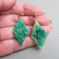1970's Vintage Lucite Faux Carved Floral Jade Dangle Pierced Earrings
