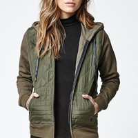 Hurley Rocky Quilted Hooded Jacket - Womens Jacket - Green