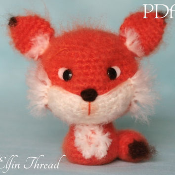 Elfin Thread - Fuzzy Mini Fox Amigurumi PDF Pattern (Fox Crochet PDF Pattern)