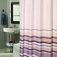 Royal Bath Easy On Fabric Shower Curtain w/ Built in Hooks - Brown Stripes