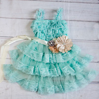 Lace Turquoise Flower Girl Dress with Tan Sash..Flower Girl Dress..Cowboy Girl Outfit..Flower Girl Gift..Photography Prop for Girls.Weddings