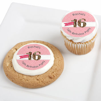 Sweet 16 - Personalized Birthday Party Edible Cupcake Toppers - 12 ct