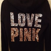 NEW VICTORIAS SECRET LOVE PINK Bling Sequin Glitter Jacket Hoodie Small