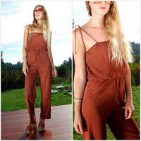 Vintage 70's Jumpsuit, Pleated Rust Red Brown Polyester Jumpsuit, Spaghetti Strap Tie Shoulder High Waisted Wide Leg Foxy 1970s Disco Pants
