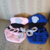 Crochet Policeman Outfit - Baby Police Outfit - Newborn Police Outfit - Custom Baby Outfit - Custom Crochet Baby Outfit - Policeman Outfit