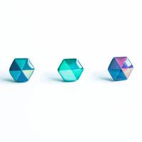 Hexagon earrings studs, blue hexagon studs