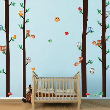 kcik1666 Full Color Wall decal bedroom children's room Custom Baby Nursery on bed baby tree nusery decal tree forest animals owl squirrel