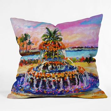 Ginette Fine Art Pineapple Fountain Charleston SC Throw Pillow