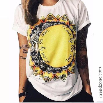 """love by the moon, live by the sun"" tshirt"