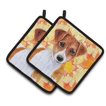 Jack Russell Terrier Fall Pair of Pot Holders BB9950PTHD
