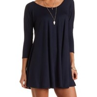Jersey Knit Trapeze T-Shirt Dress by Charlotte Russe - Navy