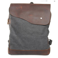 Lixmee canvas leather school backpack