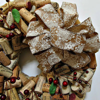 Red Berry Wine Cork Winter Christmas Wreath