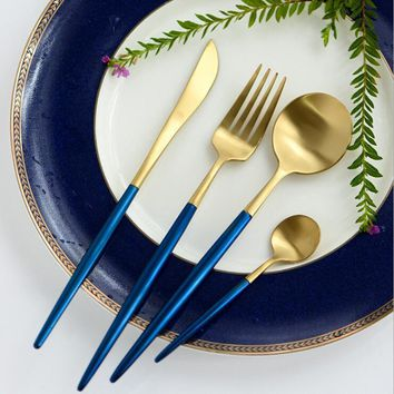 4Pcs/Lot Golden Blue Cutlery Set Gold 18/10 Stainless Steel Dinnerwar Set Fork Knife Scoops Sliverware Set Wedding Tableware Set