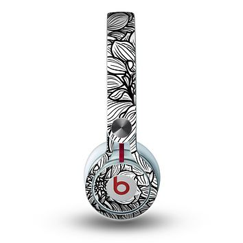 The White and Black Flower Illustration Skin for the Beats by Dre Mixr Headphones