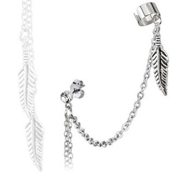 Feather Dangles with Stud Chain Ear WildKlass Ring with End Clip 316L Surgical Stainless Steel (Sold by Piece)