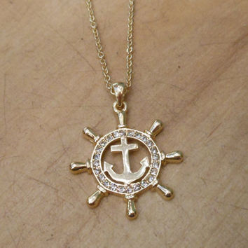 Gold Ships Wheel Necklace - Ships Wheel and Anchor - Rhinestone Ships Wheel Necklace