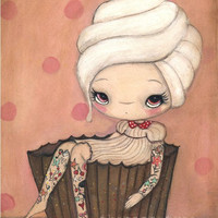 Cupcake Print Tattoo Girl Pink Cake Cherry Wall Art ---Tattood Cupcake Girl 5 x 7