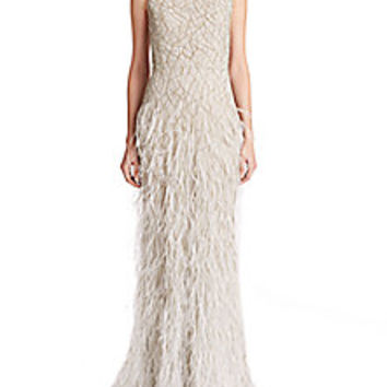 Alice + Olivia - Vaughn Beaded & Feathered Gown - Saks Fifth Avenue Mobile