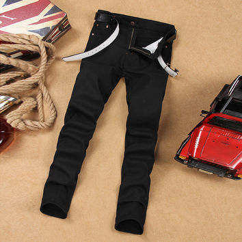 Black Slim Men Pants Fashion Jeans [6528496451]