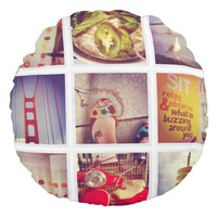 Create Your Own Instagram Round Throw Pillow