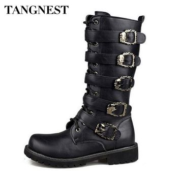 Men Combat Metal Buckle Boots Casual Cow Split Leather Military Mid-calf Boots Punk