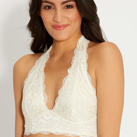 lace halter bralette in off white | maurices
