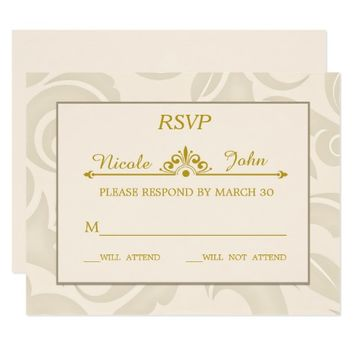 Beige Almond Ivory Texture | Wedding Response Card