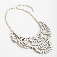 White Bib Statement Necklace