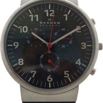 skagen - skw6100 ancher leather chronograph watch watch 1 piece